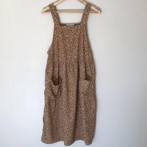 PIPER & SCOOT tan/mustard floral midi jumper dress